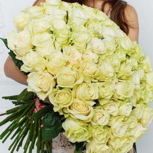 101 Белая Эквадорская Роза Mondial 80см