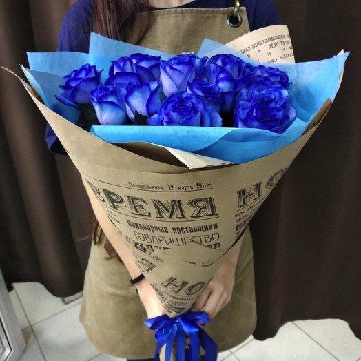 15 синих голландских роз: букеты цветов на заказ Flowwow