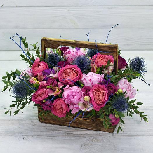 Деревянный ящик Мармелад: букеты цветов на заказ Flowwow
