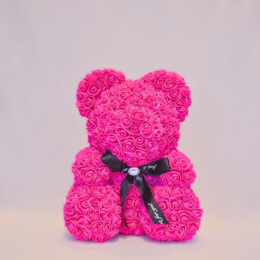 Мишка из роз RozaRose Алый - 40 см: букеты цветов на заказ Flowwow