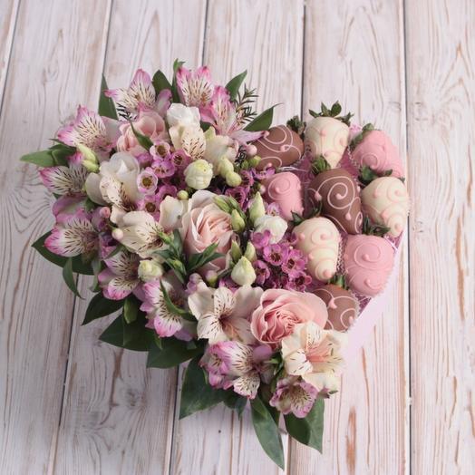 """""""Розовое сердце"""": букеты цветов на заказ Flowwow"""
