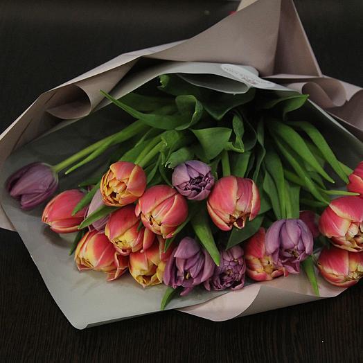 19 голландских пионовидных тюльпанов: букеты цветов на заказ Flowwow