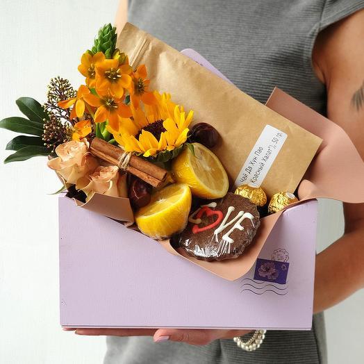"""Композиция из подсолнухов, лимона с корицей """"Жди"""": букеты цветов на заказ Flowwow"""