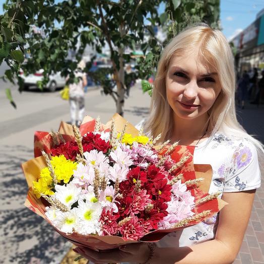 Ароматный букет с хризантемами: букеты цветов на заказ Flowwow