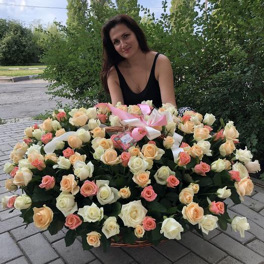 151 роза в корзине: букеты цветов на заказ Flowwow
