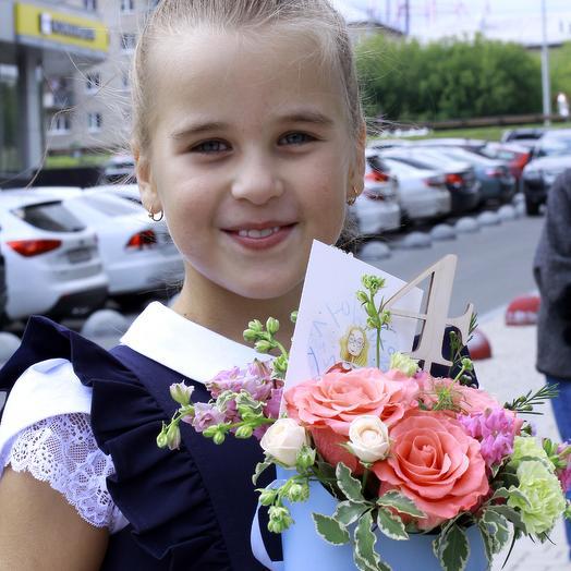 "Шляпная коробка с розами ""Детская"": букеты цветов на заказ Flowwow"