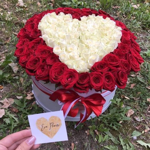 121 роза в коробке сердцем: букеты цветов на заказ Flowwow