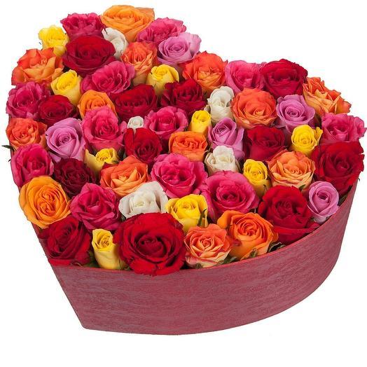 """Розы в коробке """"Изысканная гармония"""""""