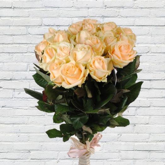 Роза Пич Аваланж 60 см в крафте  19 шт
