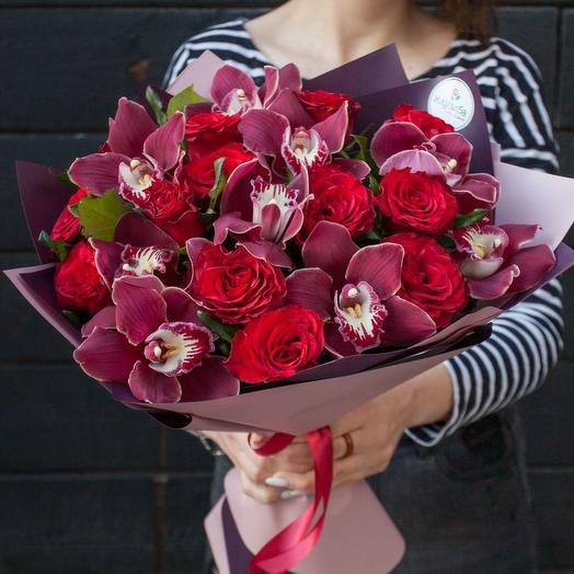 """Букет из роз и орхидей """"Божоле"""""""