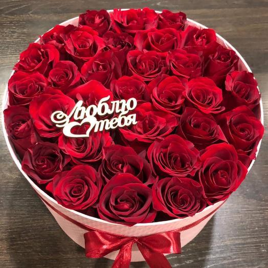 Большая коробка из красных роз