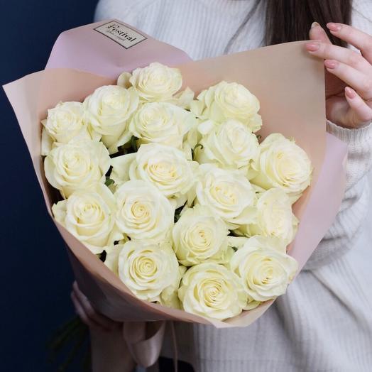 Монобукет из 17 белоснежных роз