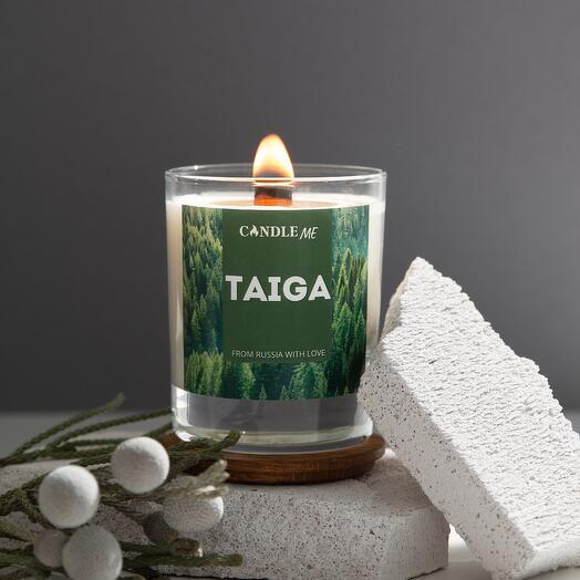 Свеча ароматическая TAIGA/Тайга с потрескивающим деревянным фитилем, свечи  CANDLE ME
