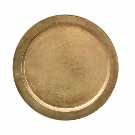 Металлическое настенное круглое блюдо с гравировкой (латунь), большое/маленькое (Размер-Малая)