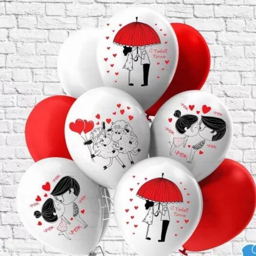 Flowers Lovers - шар с гелием с принтом любовь набор 9 шт