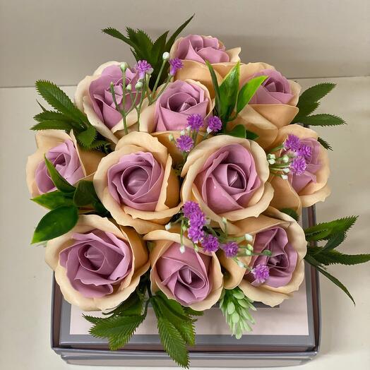 Мыльные розы коробка аквариум