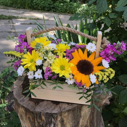 Цветы полевые в деревянном ящике