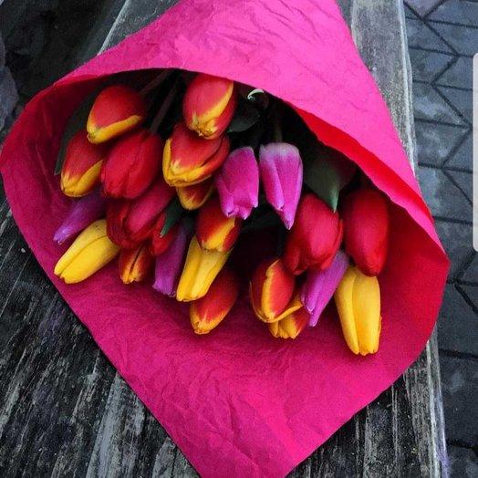 Букет из  микс тюльпан: букеты цветов на заказ Flowwow