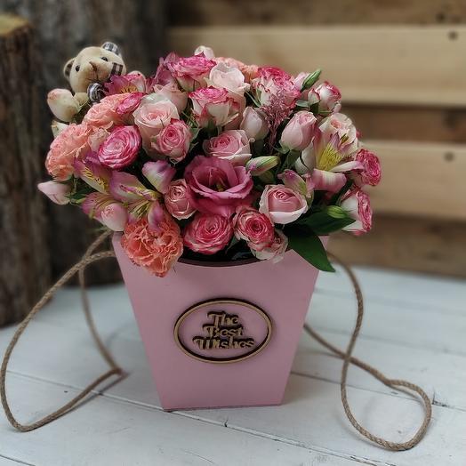 Женевьева в ящичке: букеты цветов на заказ Flowwow