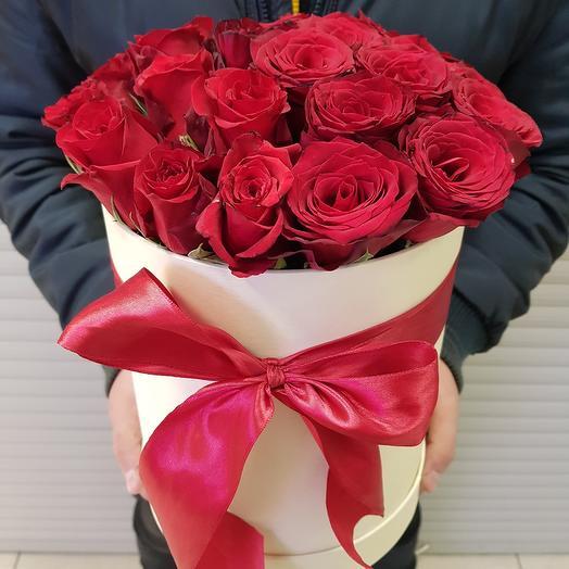 Цветы в коробке. Шляпная коробка 29 роз: букеты цветов на заказ Flowwow