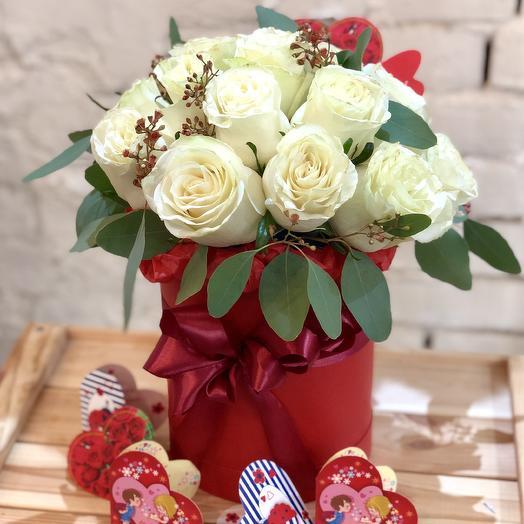 """Шляпная коробка """"Зефирное облако"""": букеты цветов на заказ Flowwow"""