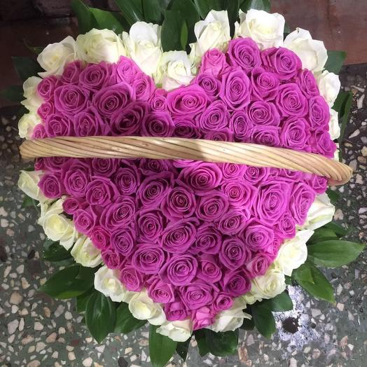 Корзина сердце 101 розак: букеты цветов на заказ Flowwow