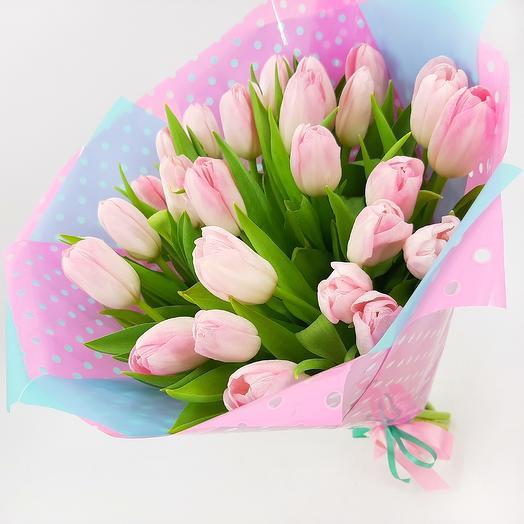 Династия: 25 нежно-розовых тюльпанов: букеты цветов на заказ Flowwow