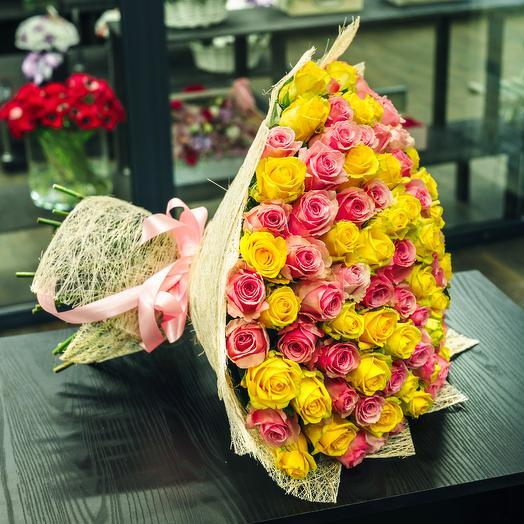 Букет 101 роза розовая и желтая микс: букеты цветов на заказ Flowwow