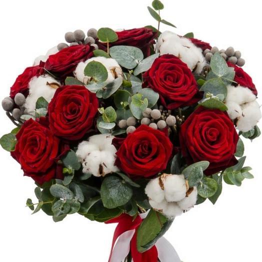 Розы с хлопком 2: букеты цветов на заказ Flowwow
