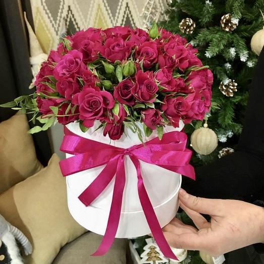 """Композиция в коробке """"Малинка"""": букеты цветов на заказ Flowwow"""