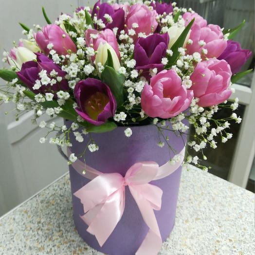 25тюльпанов в шляпной коробке: букеты цветов на заказ Flowwow