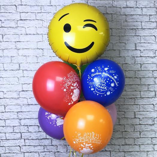 Воздушные шарики на день рождения «Смайлик»: букеты цветов на заказ Flowwow