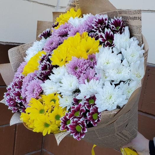 Ромашковое счастье 15 кустовых хризантем: букеты цветов на заказ Flowwow