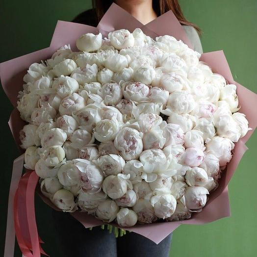 101 белый пион в упаковке: букеты цветов на заказ Flowwow
