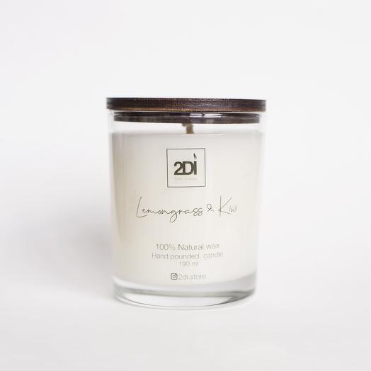 Натуральная аромасвеча ручной работы 250 мл, хлопковый фитиль - Lemongrass Kiwi, Лемонграсс и киви