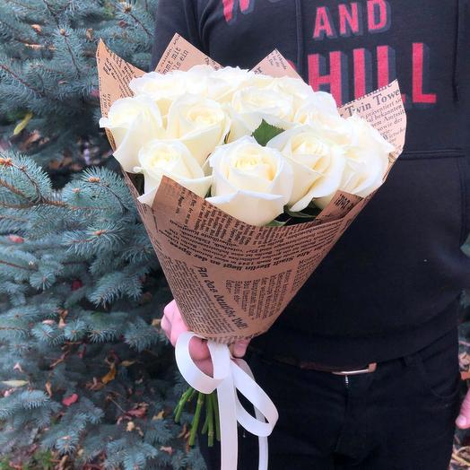 Rosalina -11 белых роз 60 см