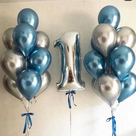 Сет шаров к Дню рождения 20 шаров + шар цифра