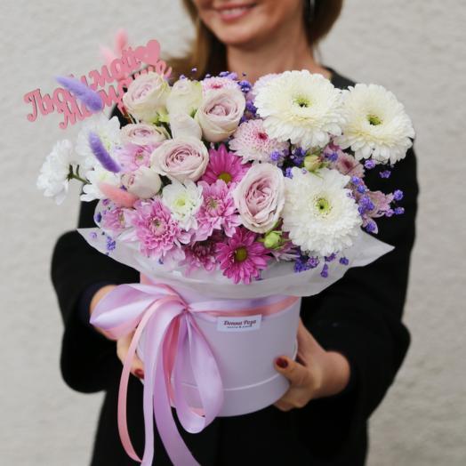 Шляпная коробка с цветами для Любимой Мамы (День Матери)