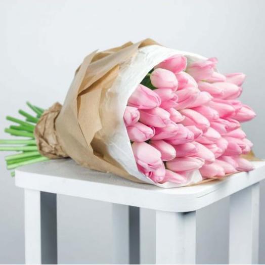 Розовые Тюльпаны 47 штук