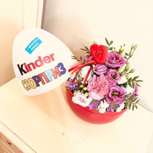 Цветы в коробке киндер