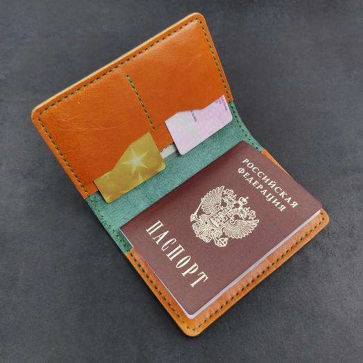 Обложка для паспорта и документов из кожи растительного дубления