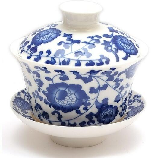"""Гайвань """"Синий цветок"""", фарфор, 220мл 1 шт"""