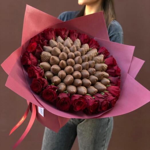 Клубничный букет «Шоколад»