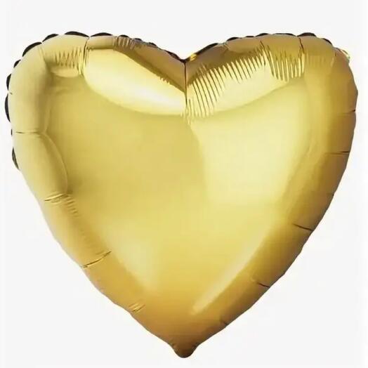 Шар фольга золотое Сердце