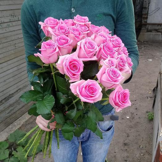 Букет из 25 розовых роз 50 см: букеты цветов на заказ Flowwow