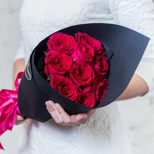 9 малиновых роз: букеты цветов на заказ Flowwow