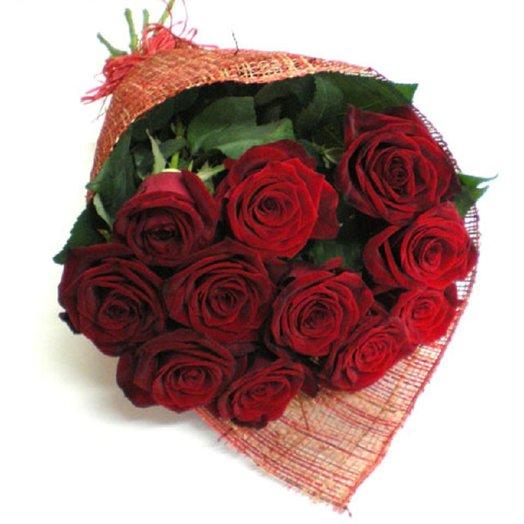11 роз в дизайн упаковке: букеты цветов на заказ Flowwow