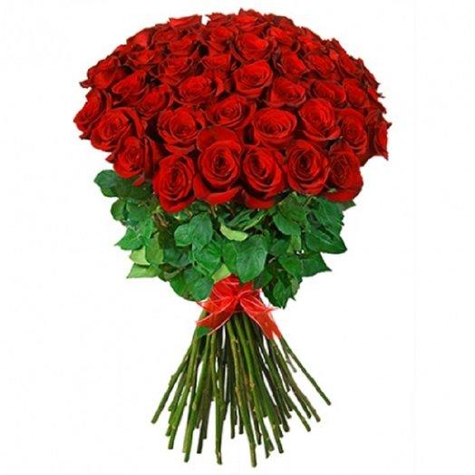 51 роза Эквадор 80см: букеты цветов на заказ Flowwow