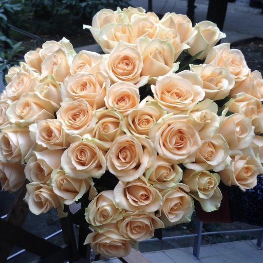 55 кремовых роз
