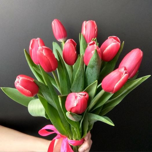 Букет из 11 розовых тюльпанов: букеты цветов на заказ Flowwow